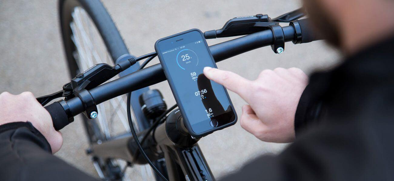 Handy als Tacho an einem Fahrrad
