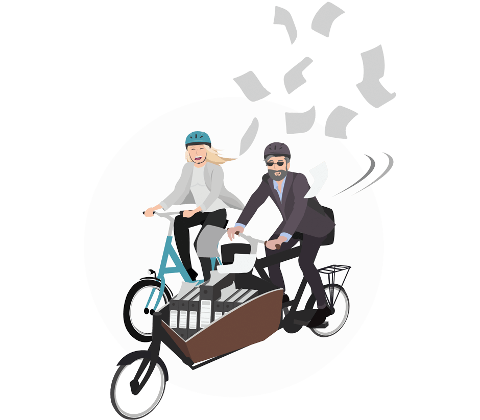 Icon Frau und Mann auf Fahrrädern mit einem Lastenrad