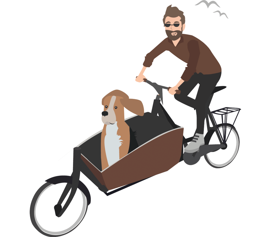 Comicbild Mann mit Lastenrad und Hund