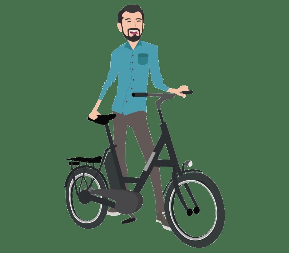 Comicbild Mann mit Fahrrad