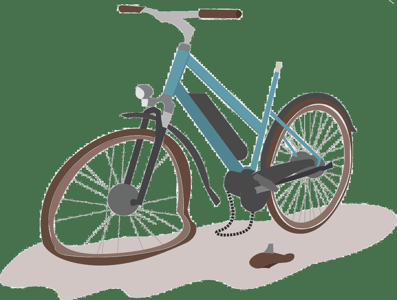 Icon Fahrrad mit einem Platten und herausgesprungener Kette