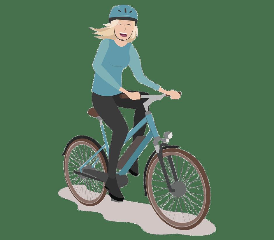 Comicbild Frau auf dem Rad