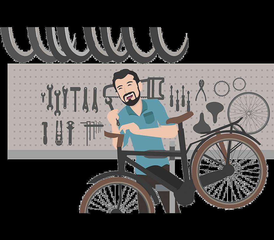 Comicbild Mann, der Fahrrad repariert