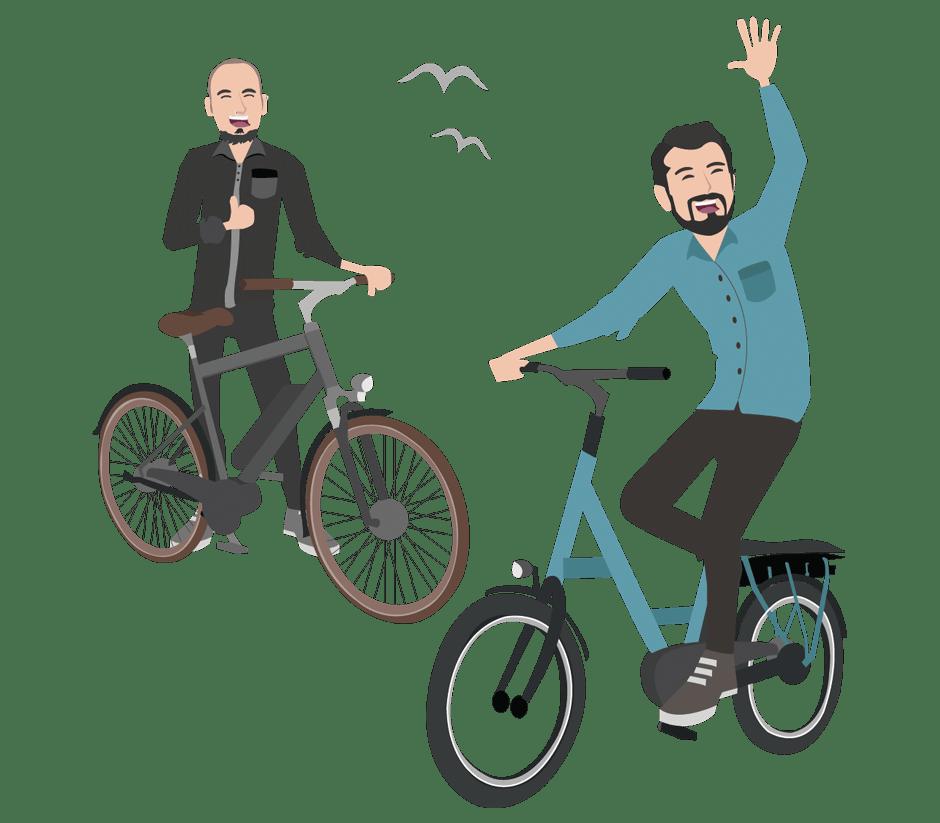 Zeichnung zwei Männer mit Rad